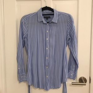 Banana Republic Blue and White Striped Top